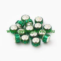 Ezüst Színű Charm Nyaklánc Karkötő Ékszer Dísz Köztes Zöld Strassz Kövekkel 10x7mm