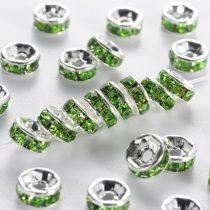 Ezüst Színű Nyaklánc Karkötő Ékszer Dísz Zöld Strassz Kövekkel 8mm
