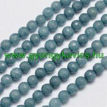 Fazettált Akvamarin Jade Ásványgyöngy 6mm