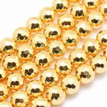 Fazettált Arany Hematit Ásványgyöngy Gyöngyfüzér 10mm