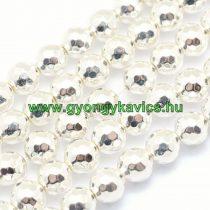 Fazettált Ezüst Hematit (2) Ásványgyöngy 8mm