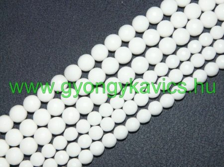 Fazettált Fehér Jade Ásványgyöngy Gyöngyfüzér 8mm