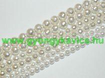 Fazettált Fehér Kagyló Gyöngy Gyöngyfüzér 6mm
