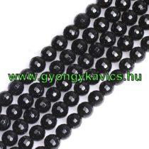 Fazettált Fekete Achát Ásványgyöngy Gyöngyfüzér 10mm