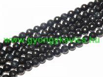Fazettált Fekete-Fehér Jade Ásványgyöngy 8mm