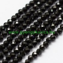 Fazettált Fekete Spinel Ásványgyöngy Gyöngyfüzér 2mm