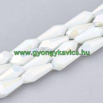Fazettált Gyöngyház Galvanizált Fehér Üveggyöngy 14x6x6mm