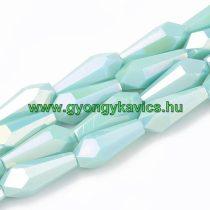 Fazettált Galvanizál Türkiz Üveggyöngy 14x6x6mm