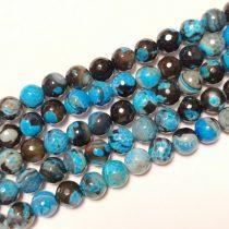 Fazettált Kék Fekete Achát Ásványgyöngy 10mm