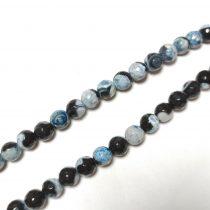 Fazettált Kék Fekete Achát Ásványgyöngy 6mm