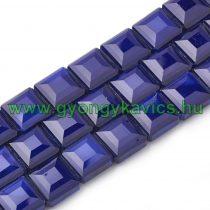 Fazettált Kék Kocka Üveggyöngy 13x13x7,5mm