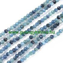 Fazettált Kék Turmalin Ásványgyöngy Gyöngyfüzér 2mm