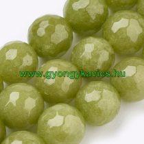 Fazettált Olivazöld Zöld Jade Ásványgyöngy 10mm