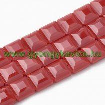 Fazettált Piros Kocka Üveggyöngy 13x13x7,5mm