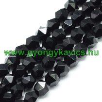 Fazettált Polygon Fekete Achát Ásványgyöngy 8mm