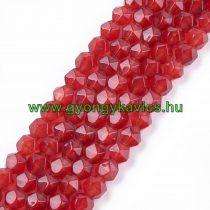 Fazettált Polygon Piros Jade Ásványgyöngy 8mm