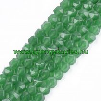 Fazettált Polygon Zöld Jade Ásványgyöngy 8mm