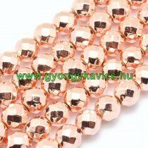 Fazettált Rózsaarany Hematit Ásványgyöngy Gyöngyfüzér 10mm