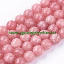 Fazettált Rózsaszín Jade Ásványgyöngy 10mm