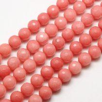 Fazettált Rózsaszín Jade Ásványgyöngy Gyöngyfüzér 6mm