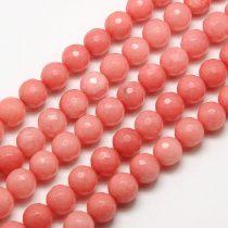Fazettált Rózsaszín Jade Ásványgyöngy 6mm