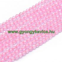 Fazettált Rózsaszín Kvarc Ásványgyöngy Gyöngyfüzér 2mm
