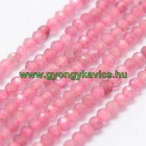 Fazettált Rózsaszín Turmalin Rubellit Ásványgyöngy Gyöngyfüzér 2mm