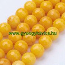 Fazettált Sárga Jade Ásványgyöngy 8mm