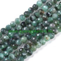 Fazettált Smaragd Ásványgyöngy 4mm