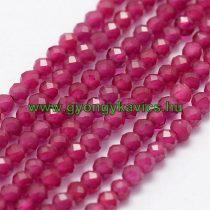 Fazettált Szintetikus Rubin Gyöngy Gyöngyfüzér 2mm