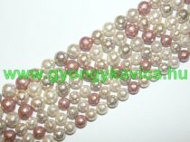 Fazettált Vaj Rózsaszín Színes Kagyló Gyöngy 10mm