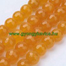 Fazettált Narancssárga Jade Ásványgyöngy 10mm