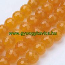 Fazettált Narancssárga Jade Ásványgyöngy 8mm