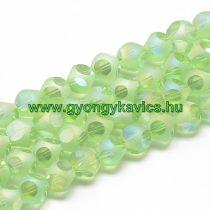Fazettált Zöld Dobókocka Üveggyöngy 8mm