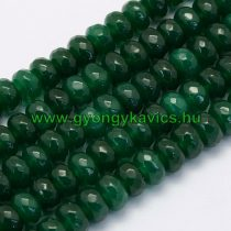 Fazettált Zöld Jade Korong Ásványgyöngy 8x5mm