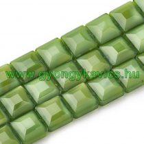 Fazettált Zöld Kocka Üveggyöngy 13x13x7,5mm