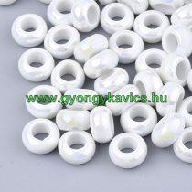 Fehér Gyöngyház Porcelán Charm Köztes Gyöngy 12-13x6,5mm
