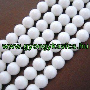 Fehér Jade Ásványgyöngy Gyöngyfüzér 12mm