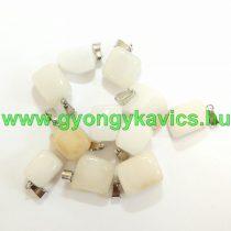 Fehér Jade Medál Ezüst Akasztóval 15-35x10-20x5-15mm