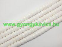 Fehér Jade Ásványgyöngy Gyöngyfüzér 8x6mm