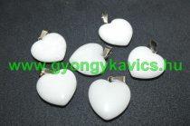Fehér Jade Szív Ásvány Medál 20x20x6mm