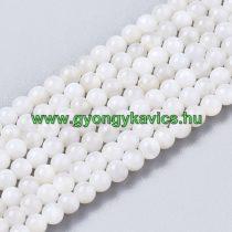 Fehér Kagyló Gyöngy Gyöngyfüzér 2mm