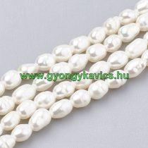 Fehér Kagyló Gyöngy Gyöngyfüzér 4-5x3-3,5mm