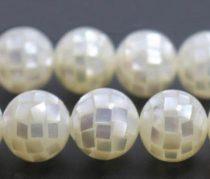 Fehér Kagyló Mozaik Gyöngy 10mm