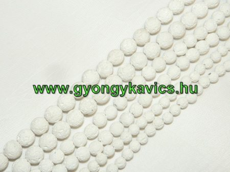 Fehér Lávakő Ásványgyöngy 10mm