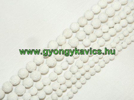 Fehér Lávakő Ásványgyöngy Gyöngyfüzér 6mm