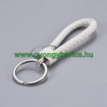 Fehér Műbőr Ezüst Színű Kulcstartó Karika 120x30mm