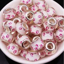 Fehér Rózsaszín Műgyanta Kutyatappancs Charm Nyaklánc Karkötő Ékszer Dísz Köztes 13,5x9,5mm