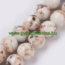 Fehér Szintetikus Gyöngy Valódi Kagyló Darabokkal Gyöngyfüzér 10mm