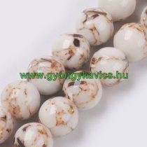 Fehér Szintetikus Gyöngy Valódi Kagyló Darabokkal Gyöngyfüzér 8mm